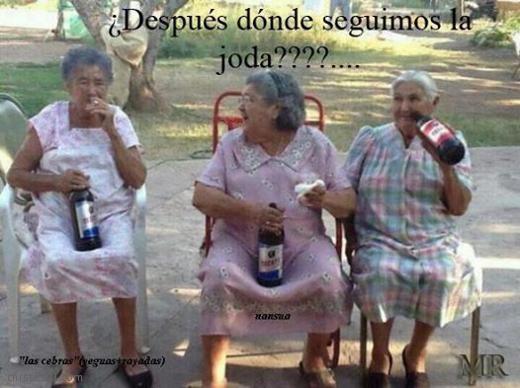 Two Old Ladies Drinking Beer