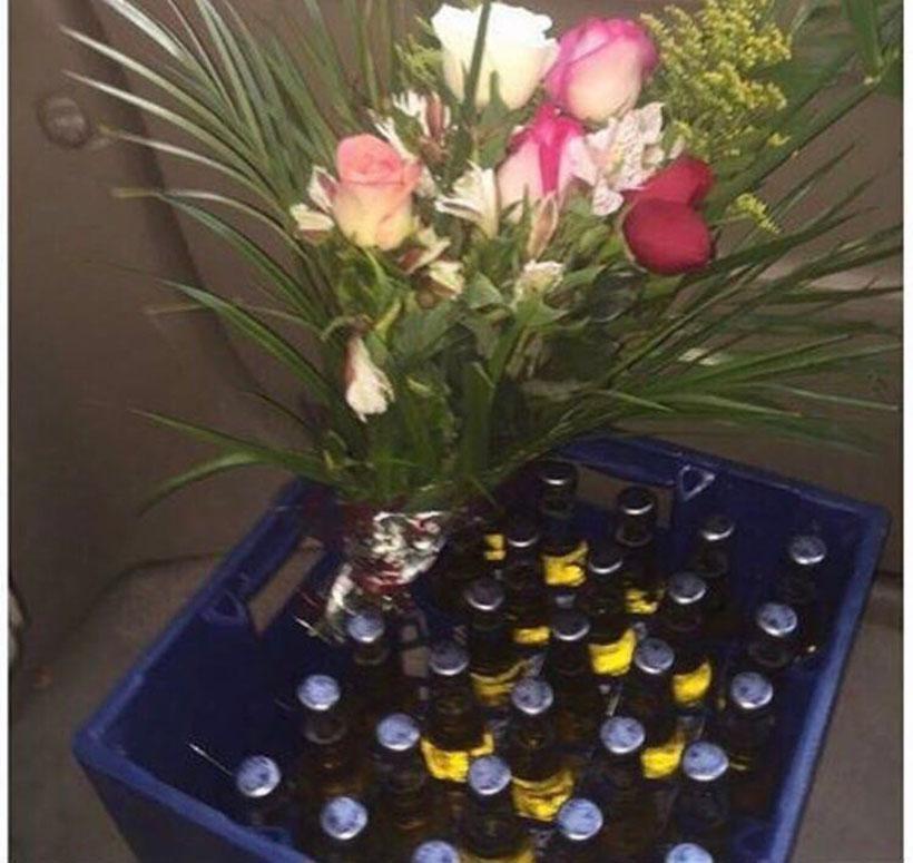 cerveza y flores