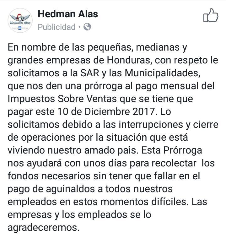 Hedman Alas Comunicado